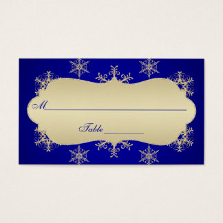 Blue, Gold Glitter LOOK Snowflakes Placecards