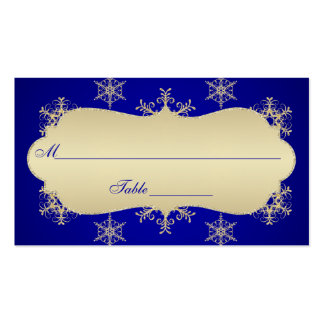 Blue, Gold Glitter LOOK Snowflakes Placecards Pack Of Standard Business Cards