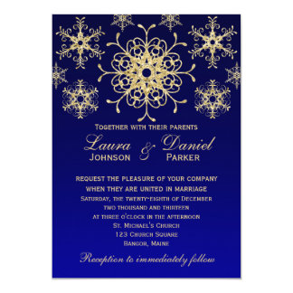 Blue, Gold Glitter LOOK Snowflakes Wedding Invite