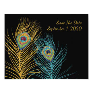 Blue Gold Glitter Peacock Feather Save The Date Card