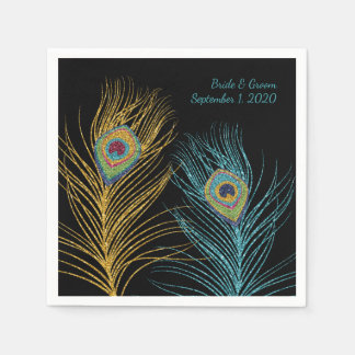 Blue Gold Glitter Peacock Feather Wedding Napkins Disposable Napkin