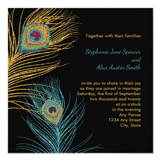 Blue Gold Glitter Peacock Feathers Wedding Card