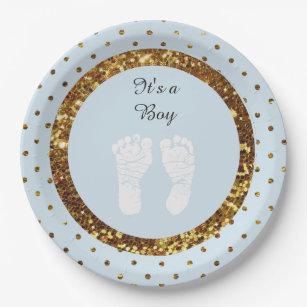 Blue u0026 Gold Glitter Personalised Paper Plates  sc 1 st  Zazzle : personalised paper plates - pezcame.com
