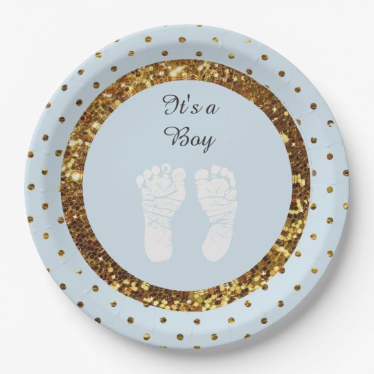 Blue & Gold Glitter Personalised Paper Plates