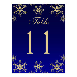 Blue, Gold Glitter Snowflakes Table Number Card