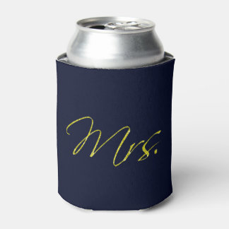 Blue Gold Glitter Sparkle Confetti Mrs. Can Cooler