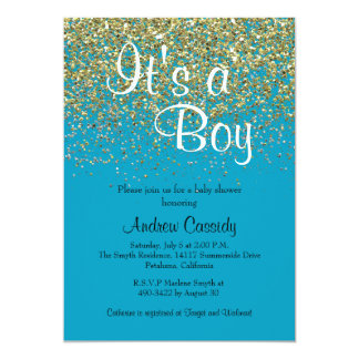 Blue & Gold Glitter Sprinkle Baby Shower Invite