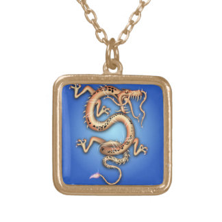 BLUE GOLD GOLDEN DRAGON FANTASY CHARACTER CREATURE PENDANTS