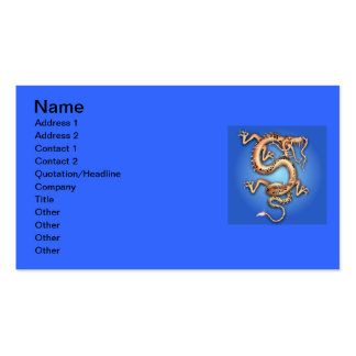 BLUE GOLD GOLDEN DRAGON FANTASY CHARACTER CREATURE PACK OF STANDARD BUSINESS CARDS