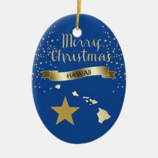 Blue Gold Hawaii Star Christmas Ornament