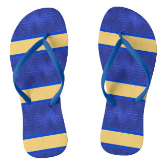 Blue & Gold Horizontal Striped Flip Flops