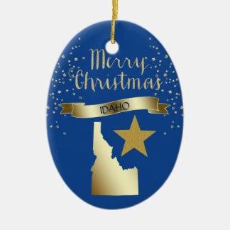 Blue Gold Idaho Star Christmas Ornament