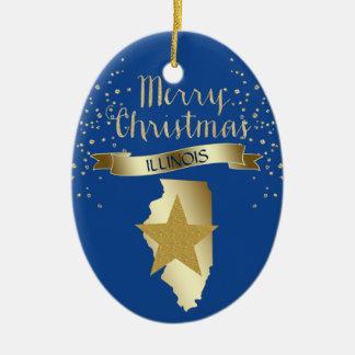 Blue Gold Illinois Star Christmas Ornament