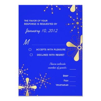 Blue & Gold Indian Inspired RSVP Meal Options 9 Cm X 13 Cm Invitation Card