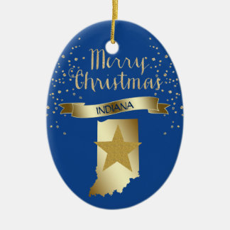 Blue Gold Indiana Star Christmas Ornament
