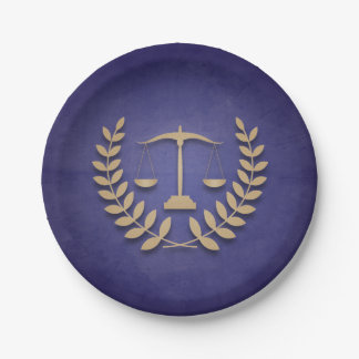Blue+Gold Justice Scales/Law School Graduation Paper Plate