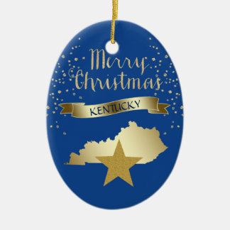 Blue Gold Kentucky Star Christmas Ornament