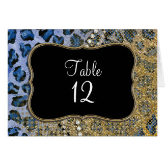 Blue Gold Leopard Animal Print Glitter Look Jewel Card