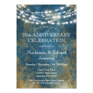 Blue Gold Lights Anniversary Party Invitation