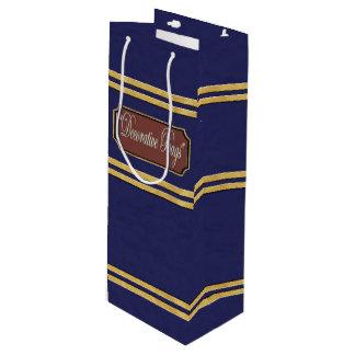 Blue Gold Lines Wine Gift Bag