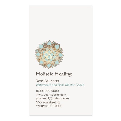 Blue Gold Lotus Healing Arts and Natural Healing Business Card Template