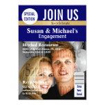 Blue Gold magazine engagement Personalized Invitations
