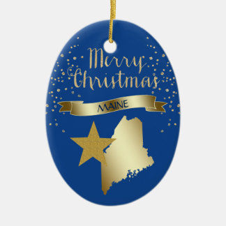 Blue Gold Maine Star Christmas Ornament
