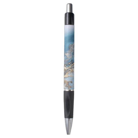 blue gold marble custom pen