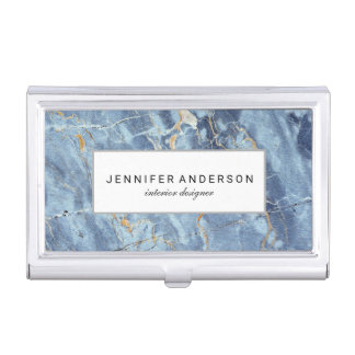 Blue Gold Marble Pattern Personalized Business Card Cases