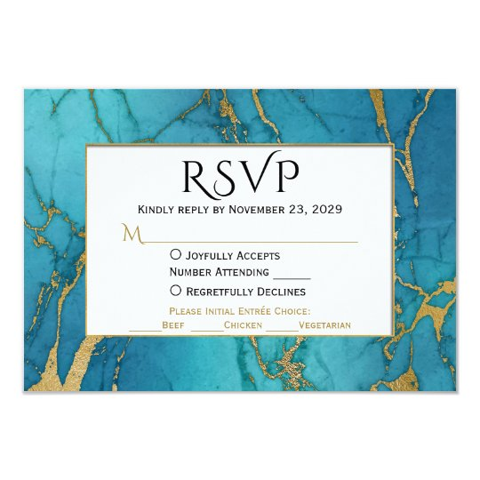 Blue Gold Marble RSVP Wedding Response w/ Meal
