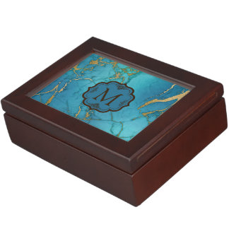 Blue & Gold Marble Stone Monogram Keepsake Box