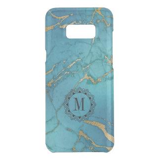 Blue & Gold Marble Stone Monogram Uncommon Samsung Galaxy S8 Plus Case