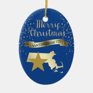 Blue Gold Massachusetts Star Christmas Ornament