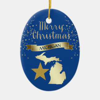 Blue Gold Michigan Star Christmas Ornament