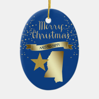 Blue Gold Mississippi Star Christmas Ornament