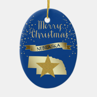 Blue Gold Nebraska Star Christmas Ornament