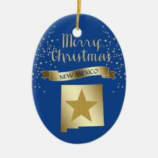 Blue Gold New Mexico Star Christmas Ornament