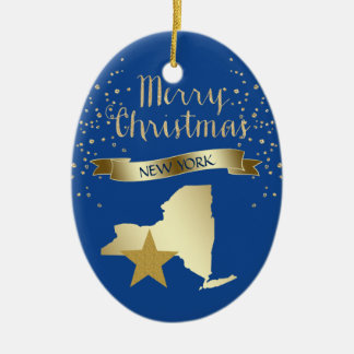 Blue Gold New York Star Christmas Ornament