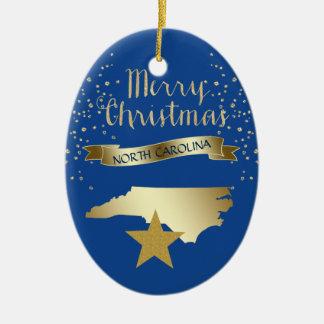 Blue Gold North Carolina Star Christmas Ornament