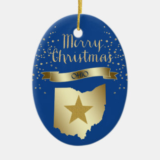 Blue Gold Ohio Star Christmas Ornament