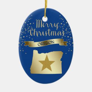 Blue Gold Oregon Star Christmas Ornament