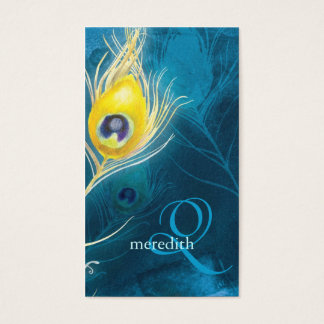 Blue Gold Peacock Feathers Monogram Business Cards