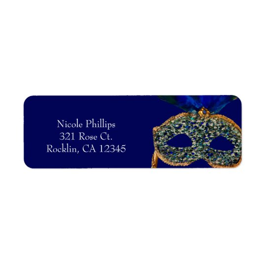 Blue & Gold Peacock Masquerade Party Invitation Return Address Label
