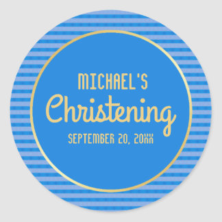 Blue & Gold Personalized Christening Sticker, Boy Classic Round Sticker