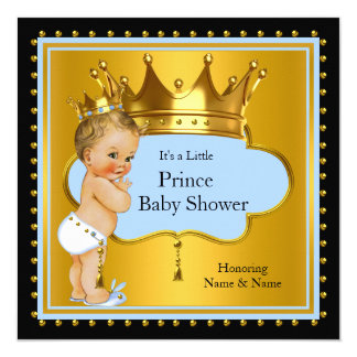 Blue Gold Prince Baby Shower Boy Crown Blonde 13 Cm X 13 Cm Square Invitation Card