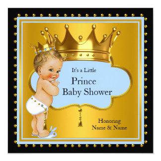 Blue Gold Prince Baby Shower Boy Crown Blonde 13 Cm X 13 Cm Square Invitation Card