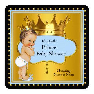 Blue Gold Prince Baby Shower Boy Crown Brunette 13 Cm X 13 Cm Square Invitation Card