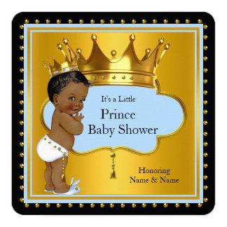 Blue Gold Prince Baby Shower Cute Boy Crown Ethnic 13 Cm X 13 Cm Square Invitation Card