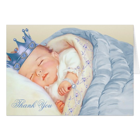 Blue Gold Prince Baby Shower Thank You Card