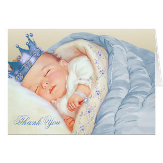 Blue Gold Prince Baby Shower Thank You Note Card